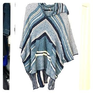 Free people high low hooded poncho